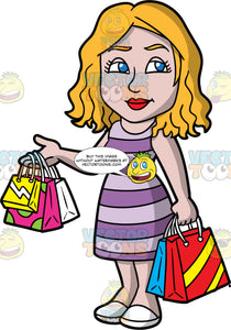 A Mom Out Shopping For Clothes. A woman with dark blonde hair and blue eyes, wearing a purple striped dress, and white shoes, holds three shopping bags in one hand, a two in the other