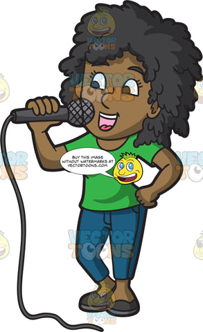 A Black Woman Singing Karaoke