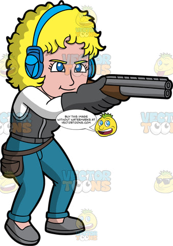 A Blonde Woman Aiming Her Shotgun At A Clay Target. A woman with blonde hair and blue eyes, wearing blue jeans, a gray vest over a long sleeve white shirt, gray shoes, gray gloves, and blue ear protection, holds her shotgun up and points it at a clay pigeon