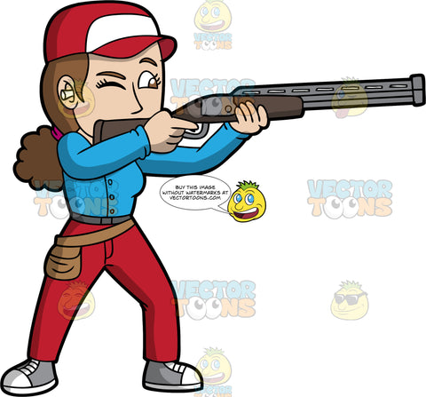 A Woman Practicing Skeet Shooting. A woman with brown hair and eyes, wearing red pants, a long sleeve blue shirt, gray and white sneakers, a red and white hat, and ear plugs, closes one eye and aims her shotgun at a clay pigeon