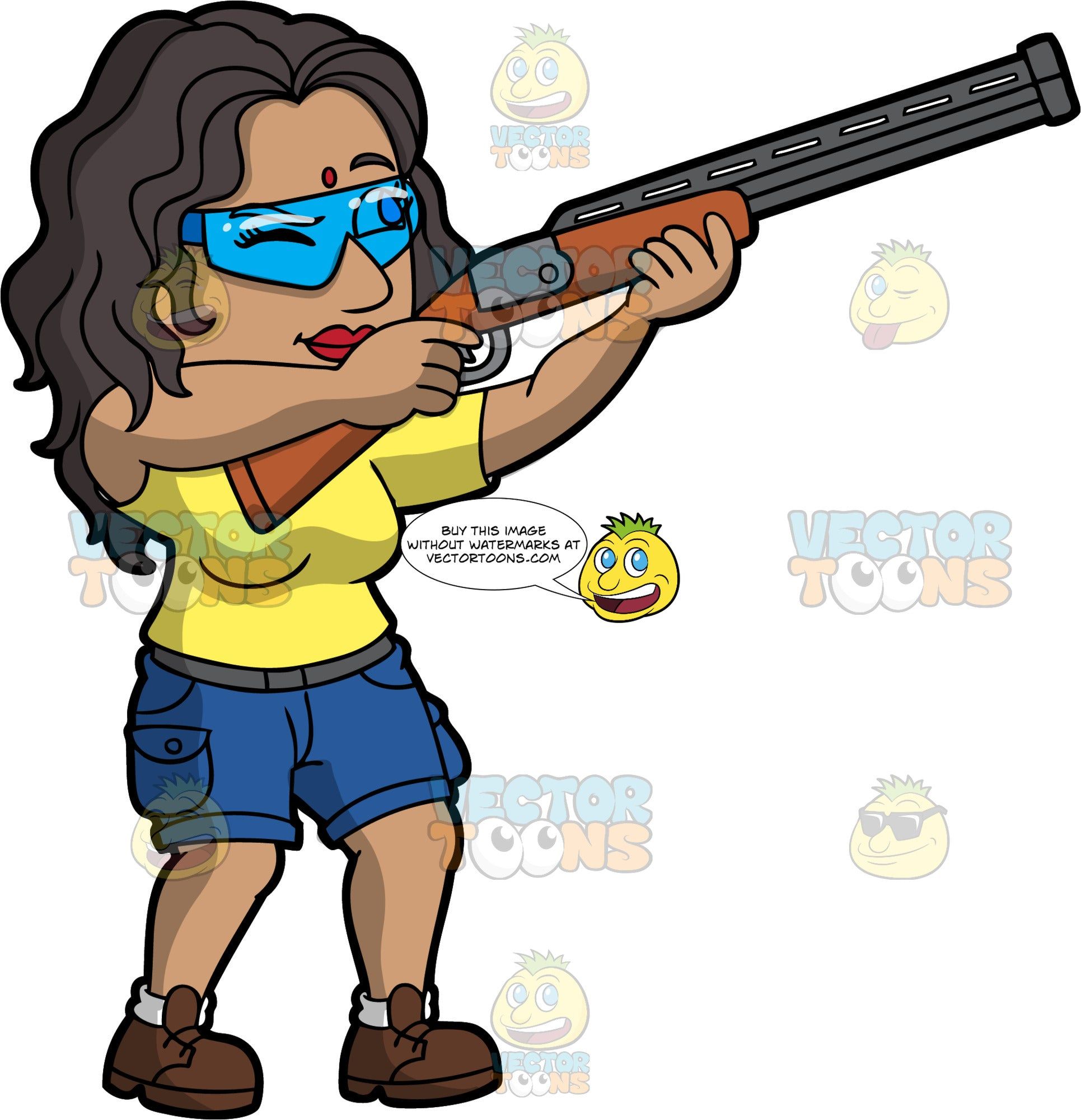 An Indian Woman Skeet Shooting. An Indian woman with long black hair, wearing blue shorts, a yellow t-shirt, brown shoes, and safety glasses, points her shotgun up, and closes one eye as she aims at a clay target