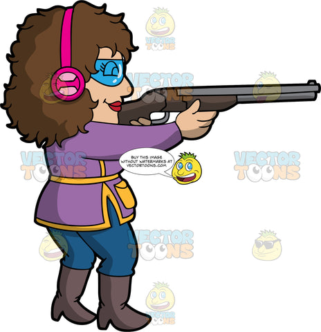 A Woman Having Fun Skeet Shooting. A woman with long brown hair, wearing blue pants, a purple and yellow shirt, high boots, pink ear protection, and safety glasses, points her shotgun at a clay pigeon and gets ready to fire