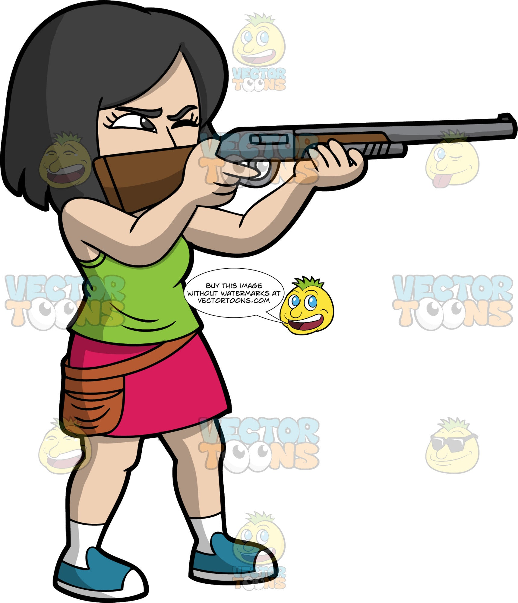 An Asian Woman Skeet Shooting. An Asian woman with black hair, wearing a dark pink skirt, a green shirt, white socks, and blue shoes, holds a shotgun up near her face, closes one eye and aims at a target