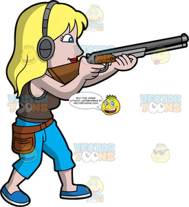 A Blonde Woman Skeet Shooting. A woman with blonde hair and blue eyes, wearing blue pants, a brown shirt, blue shoes and ear protection, holding a shotgun and aiming it at a clay target