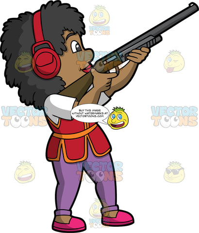 A Black Woman Skeet Shooting. A black woman wearing purple pants, a red vest over a white shirt, pink shoes, and red ear protection, holding a shotgun and pointing it towards a clay target