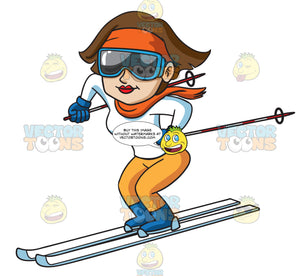 A Woman Enjoying A Good Ski Down The Slope