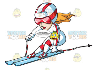 A Female Skier Speeds Down The Trail