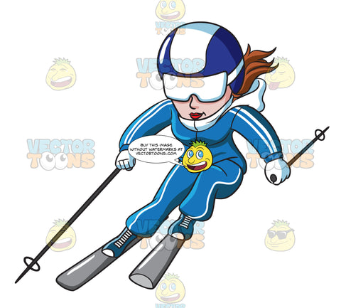 A Female Skier Speeding Down The Slope