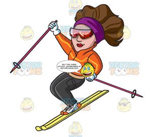 A Female Skier Gliding Down The Slopes