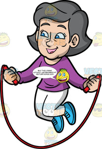 Mary Having Fun Skipping. A mature woman wearing white pants, a long sleeve purple shirt, and blue running shoes, smiles as she jumps over a skipping rope