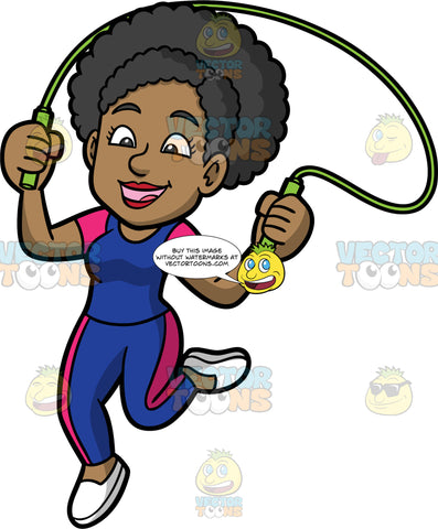 Jackie Using A Jump Rope. A black woman wearing blue with pink pants, a matching blue with pink shirt, and white shoes, having fun jumping over a skipping rope