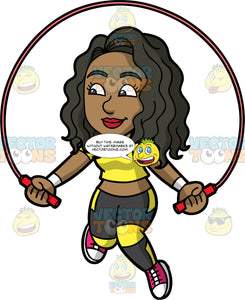 Maggy Playing With A Skipping Rope. A pretty black woman wearing black and yellow leggings, a yellow crop top, and red running shoes, using a jump rope to get some exercise
