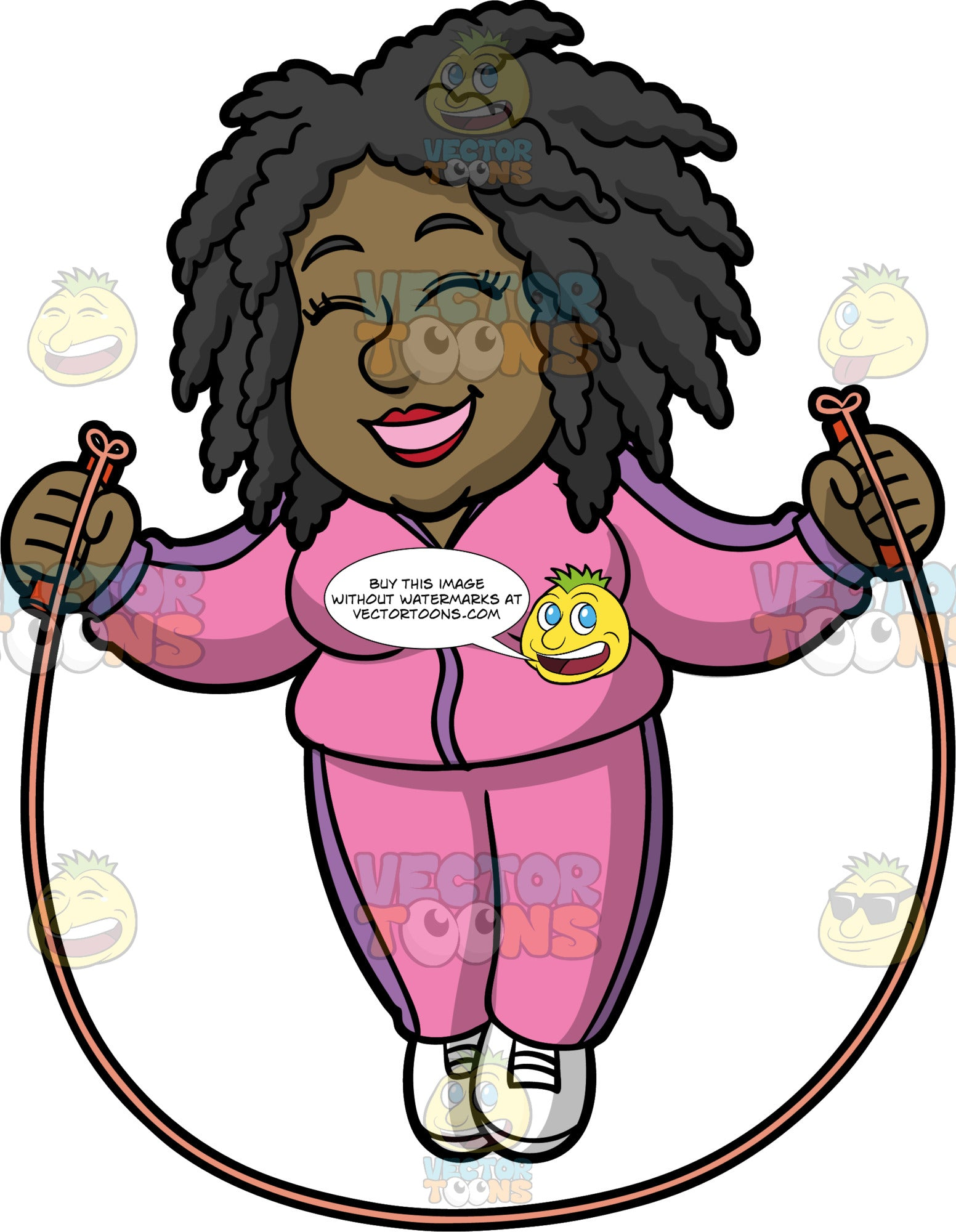 Lisa Having Fun Jumping Rope. A black woman wearing a pink and purple track suit and white running shoes, smiles and closes her eyes while using a skipping rope