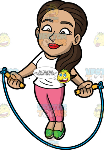 Isabella Jumping Over A Skipping Rope. A pretty Hispanic woman wearing pink pants, a white t-shirt, and green shoes, skipping over a rope