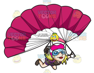 A Lady Skydiver Controlling Her Parachute