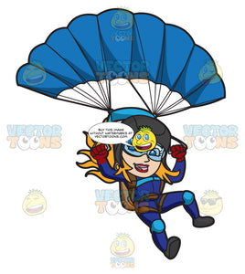 A Female Skydiver Landing With Her Parachute