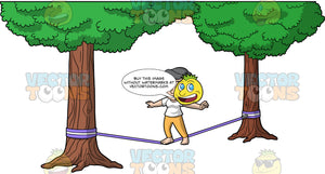Mary Balancing On A Slackline. A mature woman wearing mustard yellow pants, and a white t-shirt, balancing on one foot as she tries to make her way across a purple slackline