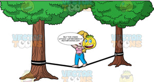Stacey Trying To Walk On A Slackline. A woman with dark blonde hair wearing blue pants, and a pink tank top, walking across a black slineline in the park