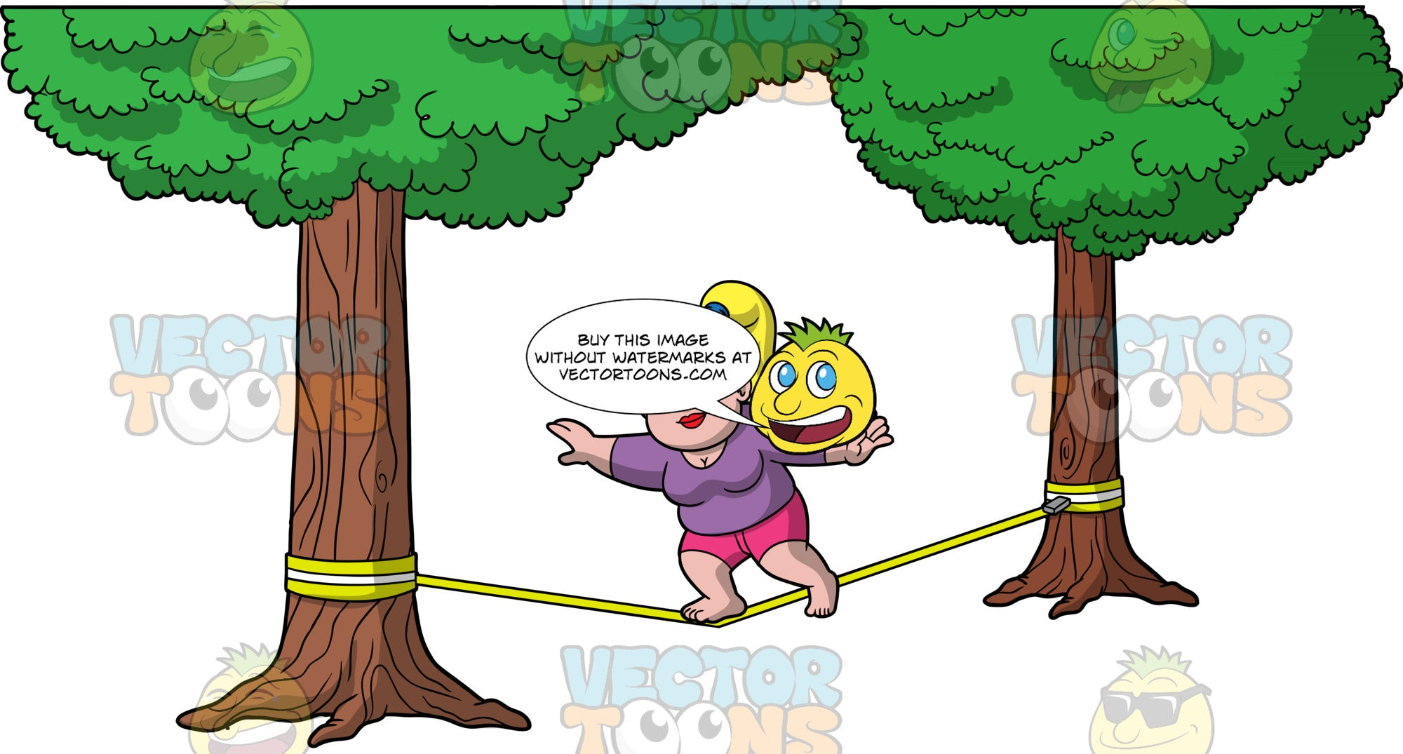 Pat Balancing While Walking On A Slackline. A chubby blonde woman wearing pink shorts, and a purple shirt, balancing on one foot as she tries to make her way across a slackline