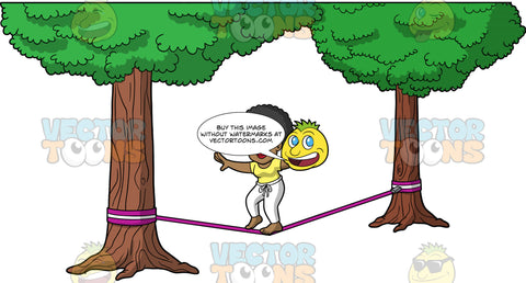 Jackie Trying To Walk Across A Slackline. A black woman wearing white pants, and a yellow t-shirt, holds her arms up in a T position as she balances while walking across a slackline
