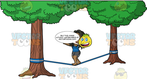 Maggy Slacklining In The Park. A black woman wearing dark gray shorts, and a blue tank top, slowly walking across a blue slackline tied between two trees