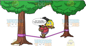 Lisa Walking Across A Slackline. A black woman wearing lavender shorts, and a coral t-shirt, attempting to walk across a pink slackline tied between two trees