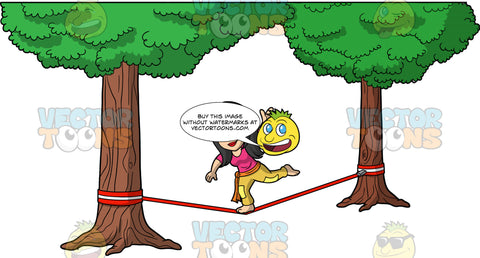 Lynn Balancing On A Slackline. An Asian woman wearing mustard yellow pants, and a pink shirt, balancing on one foot as she tries to walk across a red slackline