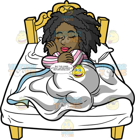 Lisa Curled Up In Bed Fast Asleep. A black woman wearing pink and white striped pajamas, curled up in her bed with her head on a pillow and her body under a white blanket