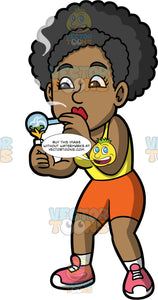 Jackie Smoking Crack. A woman wearing orange shorts, a yellow tank top and pink sneakers standing and smoking crack cocaine in a crack pipe