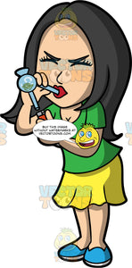 Connie Smoking Crack. An Asian woman wearing a yellow skirt, a green t-shirt, and blue shoes, smoking crack cocaine in a crack pipe