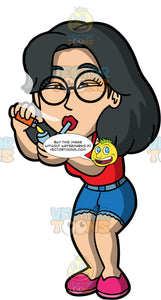 Lynn Smoking Crack Through A Pipe. An Asian woman wearing denim shorts, a red tank top, pink shoes, and round eyeglasses, smoking crack out of a crack pipe