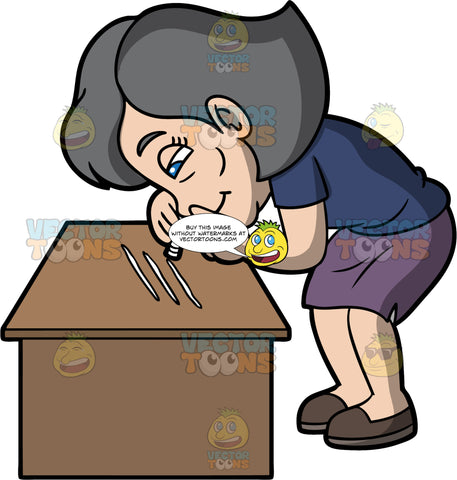 Mary Snorting Cocaine Off A Table. A mature woman wearing a purple skirt, a blue shirt, and brown shoes, leaning over a table and snorting lines of cocaine