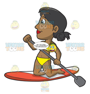 An Adventurous Woman On A Paddle Board