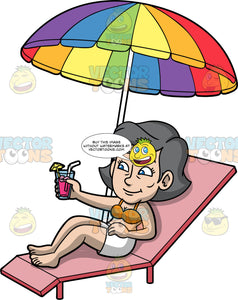 Mary Relaxing By The Pool. An older woman wearing white shorts and an orange bikini top, lying on a pink lounge chair under a rainbow coloured umbrella, holding a cold drink in her hand