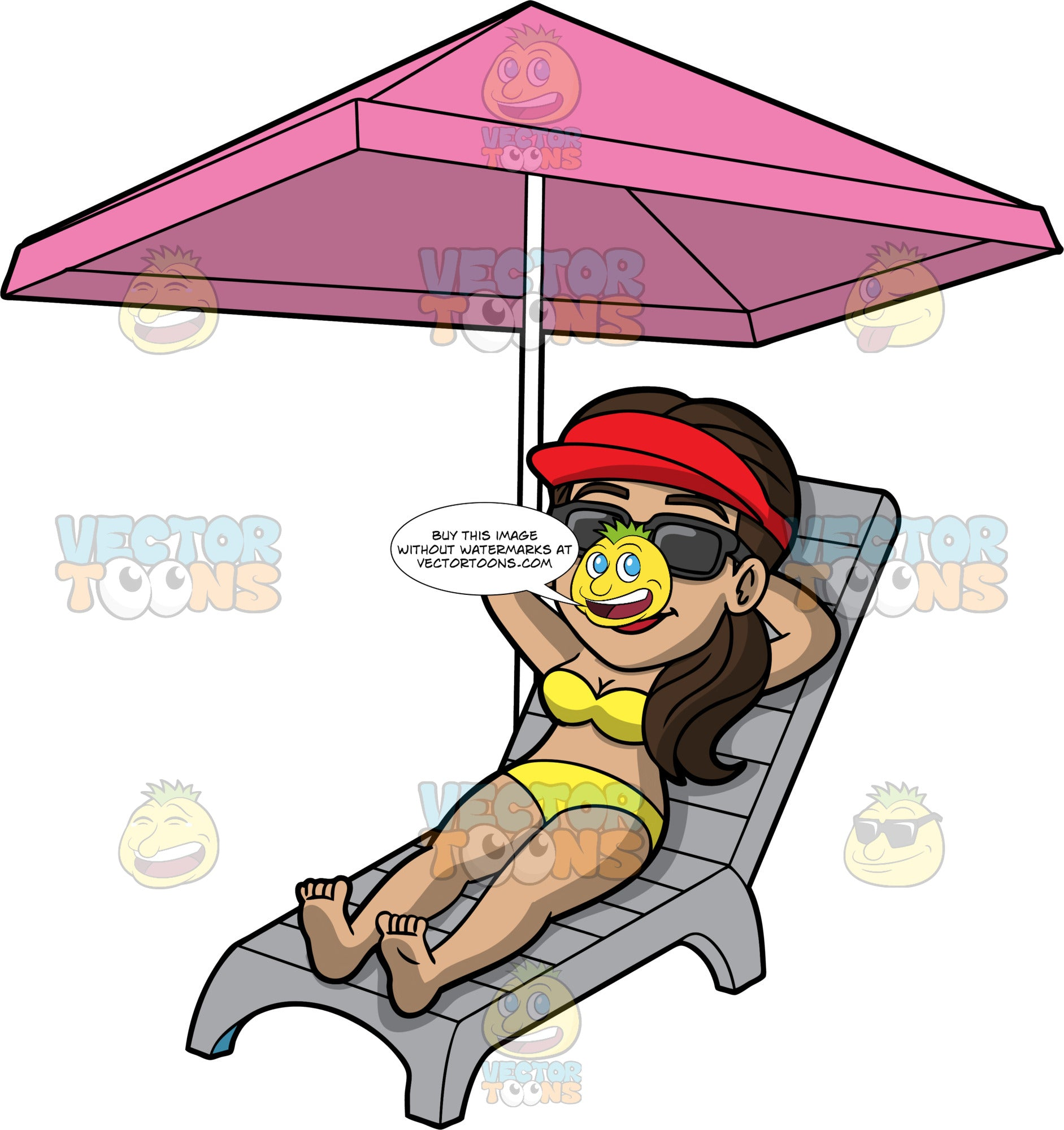 Isabella Sunbathing On A Summer Day. A Hispanic woman wearing a yellow bikini, red sun visor, and sunglasses, lying on a lounge chair under a pink umbrella with her arms behind her head