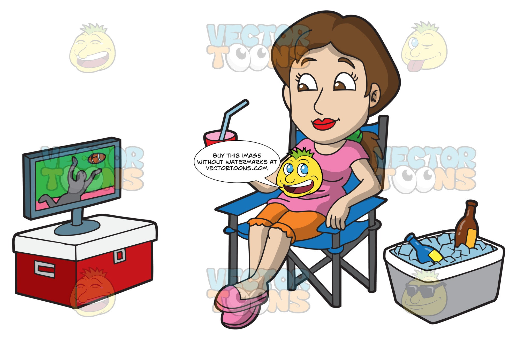 A Female Tailgater Watching A Football Game Clipart Cartoons By Vectortoons