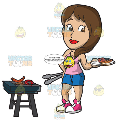 A Woman Grilling Meats For A Tailgate Party