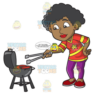 A Black Woman Grilling Sausages During A Tailgate Party