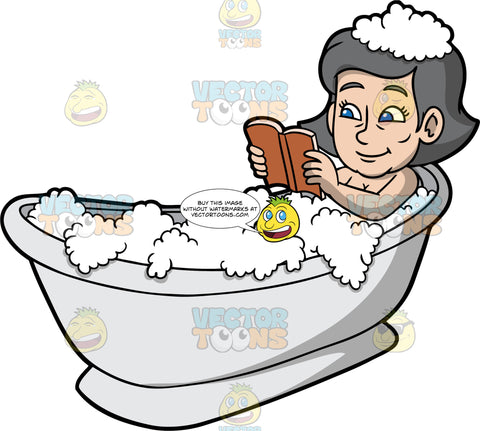 Mary Reading A Book While Taking A Bath. An older woman with gray hair and blue eyes, lying in a bathtub filled with bubbles, reading a book with a brown cover