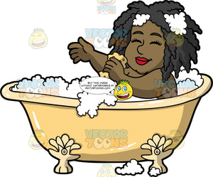 Lisa Washing Herself In The Bath. A black woman lying down a pale yellow claw footed bathtub, closing her eyes and using a sponge to wash her arm