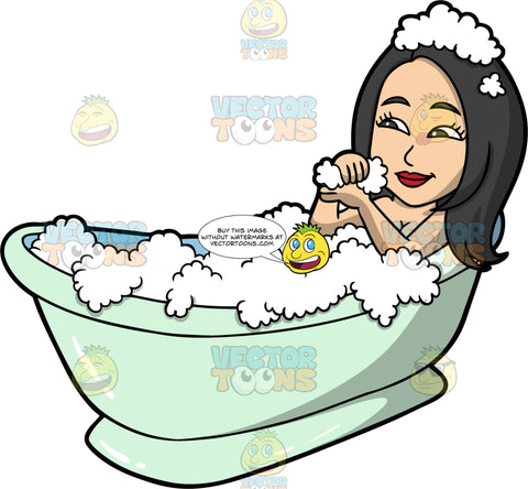Connie Taking A Relaxing Bubble Bath. An Asian woman with black hair and dark brown eyes, lying in a pale green bathtub filled with bubbles