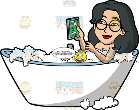 Lynn Using A Tablet While Taking A Bath. An Asian woman wearing round eyeglasses, lying in a bathtub filled with bubbles, surfing the internet on a tablet