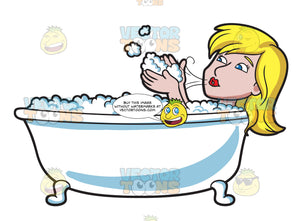 A Woman Blowing Bubbles In A Tub
