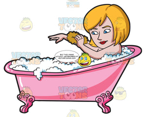 A Woman Scrubbing In A Tub