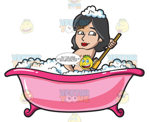 A Woman Scrubbing Her Back While In A Tub