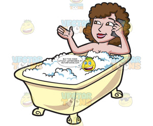 A Woman Using Her Cellphone In A Tub