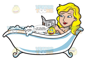 A Woman Reading Newspaper In A Tub