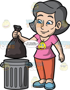 Mary Throwing Out The Trash. A mature woman wearing orange pants, a pink t-shirt, and blue shoes, throwing a bag of garbage into a metal trash can