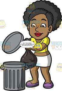Jackie Throwing Out A Bag Of Garbage. A black woman wearing a white skirt, a yellow crop top, and purple shoes, throwing a garbage bag into a metal trash can