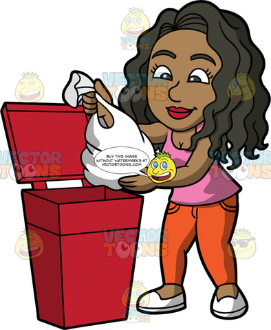 Maggy Throwing Out A Bag Of Trash. A black woman wearing orange pants, a pink tank top, and white shoes, putting a bag of garbage into a red trash can